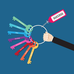 Hand holding bunch of success factor keys