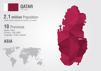 Qatar world map with a pixel diamond texture.