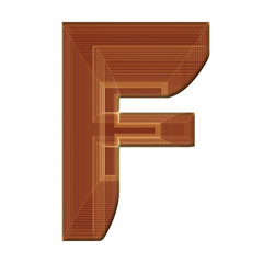 Letter F in brown with wireframe design