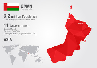 Oman world map with a pixel diamond texture.