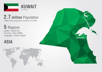 Kuwait world map with a pixel diamond texture.