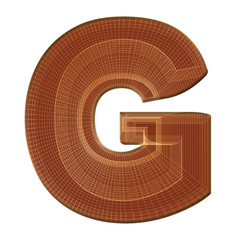 Letter G in brown with wireframe design