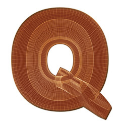 Letter Q in brown with wireframe design