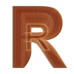 Letter R in brown with wireframe design
