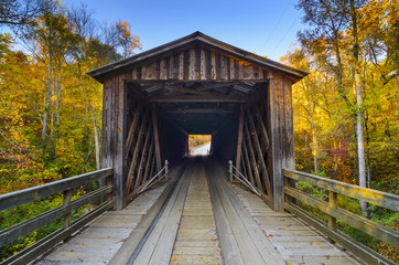 Old Covered Bridge in Fall Season in Georgia, USA
