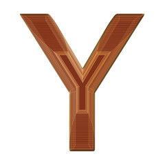 Letter Y in brown with wireframe design