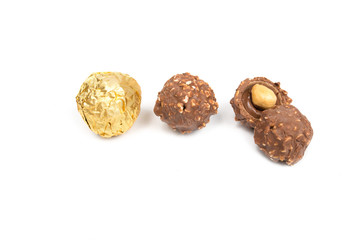 chocolate ball candy isolated on white background