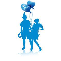 Oktoberfest silhouetten balloons hearts