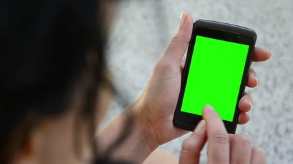 Business woman using a Smartphone Touchscreen CHROMA KEY