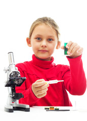 little girl conducting research