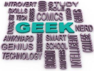 3d imagen Geek Word Cloud Concept