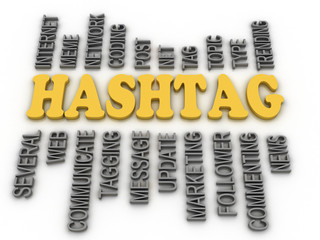 3d image Hashtag concept word cloud background