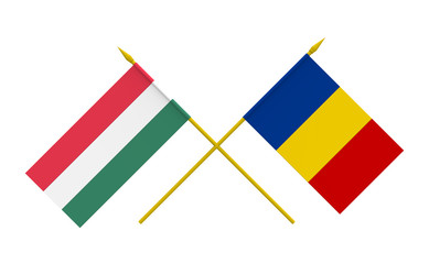 Flags, Hungary and Romania