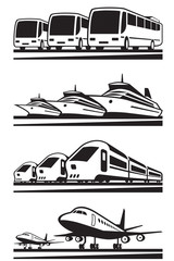 Passenger transportation vehicles - vector illustration