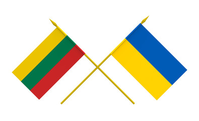 Flags, Lithuania and Ukraine