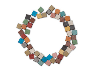 multicolor stone circle frame