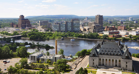 Canada Supreme Court and Gatineau Skyline aerial view, Ottawa
