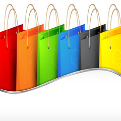Background with colorful shopping bags.