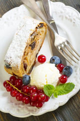 Plate with apple strudel.