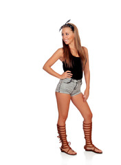 Sensual beautiful girl with jeans short