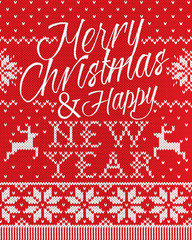 Merry Christmas and happy new year style seamless knitted