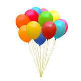 An illustration of a set of colourful birthday or party balloons - 69689236