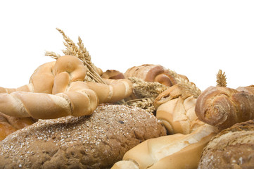 Various type of bread on the white background