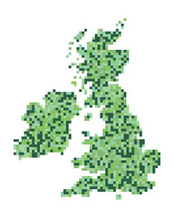A pixel art style vector of the British Isles and Ireland