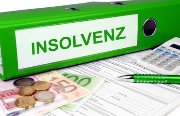 Insolvenz Ordner mit Geld und Taschenrechner, grün