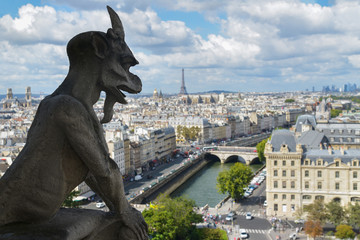 Gargoyle on the top of Notre Dame de Paris - France