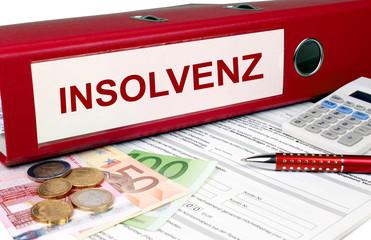 Insolvenz Ordner mit Geld und Taschenrechner, rot
