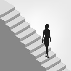 woman walking down on diagonal staircase