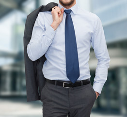 close up of businessman standing outdoors