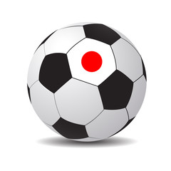 Vector soccer ball with the flag of Japan.