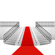 red carpet on circular staircase on white background - 69692053
