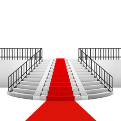 red carpet on circular staircase on white background
