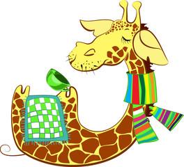 Cute giraffe got flue