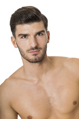 Handsome shirtless naked young man