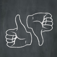 Chalk Thumbs Up Thumbs Down