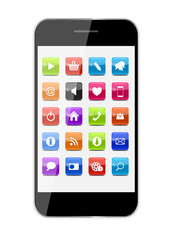 Abstract Design Mobile Phone with Glass Button Icons . Vector Il