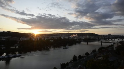 Prague general view sunset timelapse