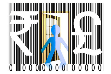 Paperman coming out of a bar code with Rupee and Pound Signs