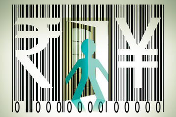 Paperman coming out of a bar code with Rupee and Yen Signs