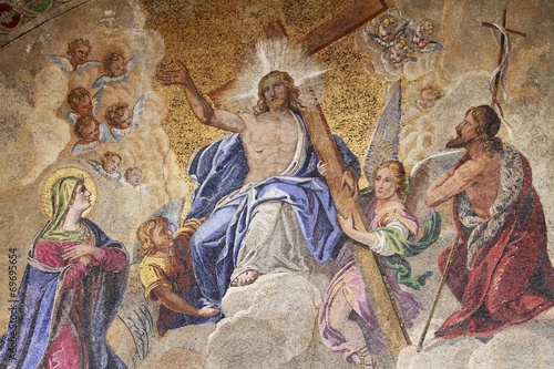 Staande foto Venice fresco St Marks Basilica in Venice - Jesus in the cross