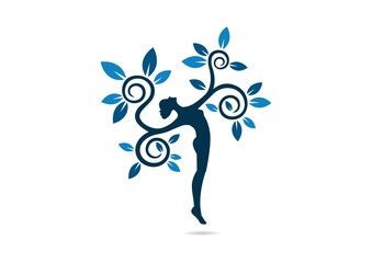 Natural Healthy balance Logo, woman health design