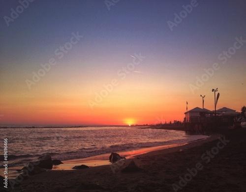 canvas print picture tramonto in spiaggia