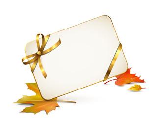 Karte mit goldener Schleife u. Herbstlaub