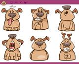 Fototapety dog emotions cartoon illustration set