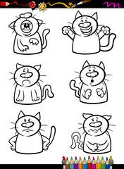 cats emotion set cartoon coloring book