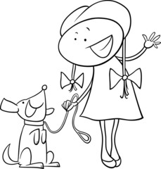 cute girl with dog coloring page